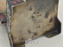 Antique Important Argent Impériale Russe Et En Émail Cloisonné Trône De Sel. 170g. Rare