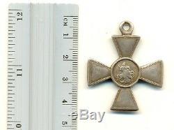 Antique Pour Origine Impériale Médaille Russe St George Croix D'argent 4 (# 1038)