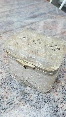 Antique Pressé Blanc Verre Thé Caddy Box Impérial Russie