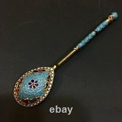 Antique Russe Imperial 84 Silver Enamel Spoon