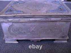 Antique Russe Imperial Argent Et Boîte D'émail