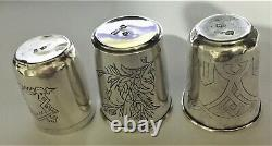 Antique Russe Imperial Silver 84 Trois Coupes Gravées