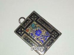Antique Russe Impérial Sterling Argent 84 Hot Enamel Livre Pendentif De Bijoux