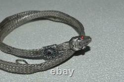 Antique Russe Imperial Sterling Silver 84 Jewelry Snake Chain Collier Grenat