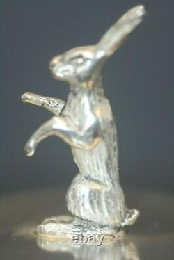 Antique Russe Sterling 84 Imperial Russian Hunting Egg Figural Rabbit Signé