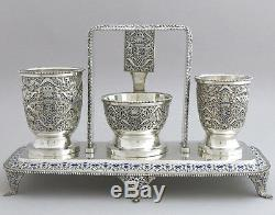 Antique Russian Français Sterling Silver Set Companion Smoking Tabac À Cigares Royal