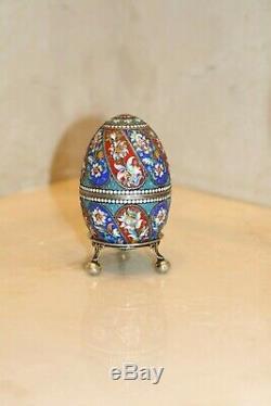 Antique Russian Imperial Argent 84 En Émail Cloisonné Aux Oeufs De Pâques 84 Poinçons