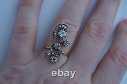 Antique Russie Impériale Russe 14k /56 Or Diamonds Ring