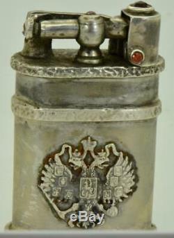 Antique Très Rare Impériale Russe 84 Argent Massif Et Rubies Briquet De C1900