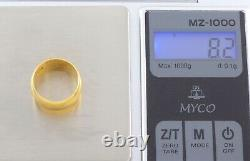 Antique Wide Russian Imperial 14ct Gold Wedding Ring / Bande 56 Zolotnik Mark