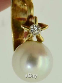 Antiquité Rare Impériale Russe En Or 18 Carats, Diamants Et Perles De Mer Boucles D'oreilles. Boîte D'origine