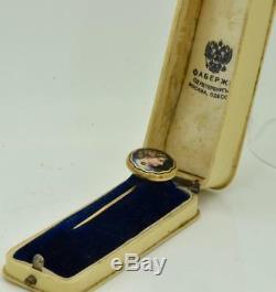 Antiquité Rare Or Impériale Russe Fabergé 14k, Émail Et Diamants Broche. Boxed