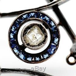 Art Antique Impériale Russe Nouveau Deco 56 Diamants En Or Saphir Broche
