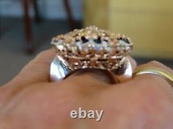 Art Nouveau 14k Rough Diamond Blue & White Enamel Russian Imperial Eagle Ring