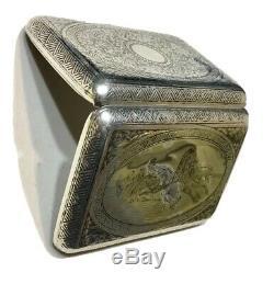 Authentique Argent Impérial Russe 84 Niello Essai Étui À Cigarettes Mark 1896