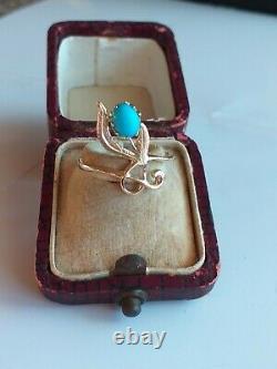 Bague Russe Antique Impériale En Or 56 (14ct) Avec Turquoise Persan Rare