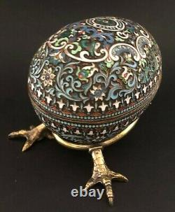 Big Antique Imperial Russian 84 Silver Shaded Émail Egg (khlebnikov)