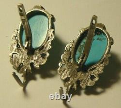 Boucles D'oreilles 84 Argent Turquoise Impériale Russe 1908
