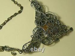 Collier Amber Diamond Rubies Argent 84 Impérial Russe 1910