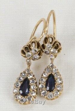 Diamant Antique Russe 14k Or Saphir Poire Goutte D'avant 1917 Boucles D'oreilles Imperial