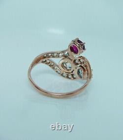 Diamant Européen Impériale Russe Ruby Aquamarine Bague En Or Rose 14k Antique56