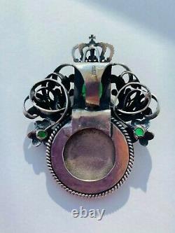 Énorme Antique Russe Imperial Sterling Silver 84 Femmes Bijoux Pendentif Icon 32gr