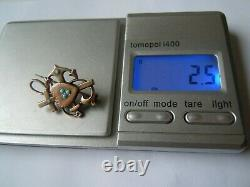 Faberge Design Imperial Russian 84 Silver Brooch With Turquoise In Gold
