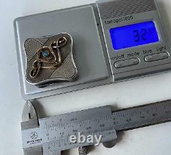 Faberge Design Imperial Russian 84 Silver Powder Box Avec De L'or Et Du Cristal