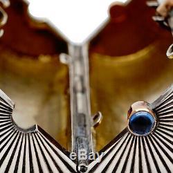Faberge Rare Antique Imperial Russe Argent Cigarette Case Or Sapphire Vesta