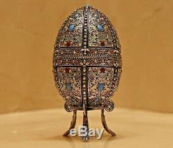 Fabrege Antique Russian Imperial Argent 84 Cloisonné Easter Egg