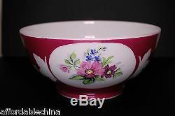 Gardner 19ème Siècle Impériale Russe Porcelaine Red Bowl Avec Des Fleurs