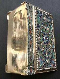 Grand Antique Impériale Russe Émaillé 84 Argent Box