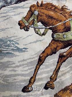 Grand Antique Vintage Impériale Russe Tapisserie / Tapis / Tapis / Mural Troïka