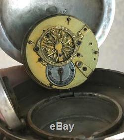 Hou La La! Antique Imperial Russian 84 Argent Et Émail Verge D'oeuf De Pâques Fusée Horloge De Bureau