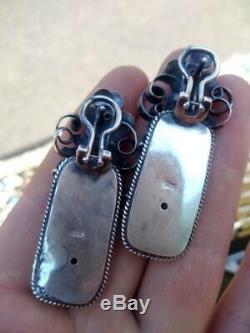 Immense Antique Impériale Russe En Argent Sterling 84 Bijoux Boucles D'oreilles Femmes Corail