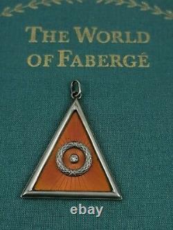 Imperial Antique Russe Faberge Guillochee Émail Argent 84 Pendentif