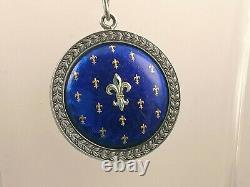 Imperial Antique Russe Faberge Guillochee Émail Argent 88 Pendentif H. W
