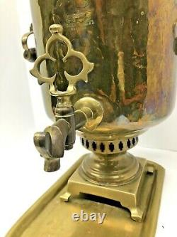 Imperial Antique Russian Samovar Tula Teapot, 17 Timbres, 19ème Siècle -brass