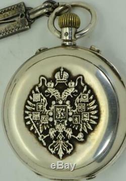 Imperial Armée Russe Omega Rattrapante Split Second Montre En Argent Chronographe