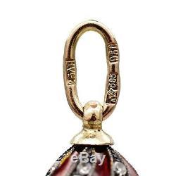 Imperial Egg Pendentif Russe Artel Or 18k 72 Argent Diamant Émail Guilloché