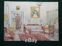 Imperial Russe Aristocratiques Intérieur Antique Aquarelle 1910