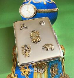 Imperial Russian 84 Argent Cigarette Cas Avec Les Overlays 1908-1917
