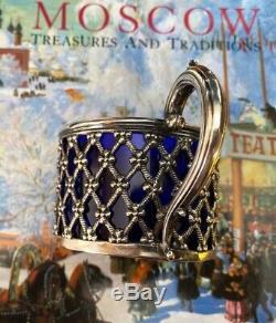 Imperial Russian 84 Silver & Cobalt Blue Cup Par Carl Gustav Ekqvist Circa 1858