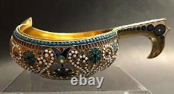 Imperial Russian 84 Silver Enameled Kovsh (nemirov-kolodkin Pour Tiffany)