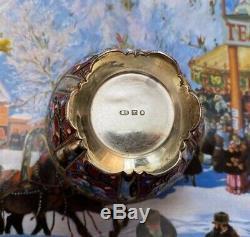 Imperial Russian 88 Vermeil En Émail Cloisonné Ouvert Bowl Par Grigoriy Sbignev