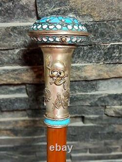 Imperial Russian Masonic Doctors Verge Fusee Cane Walking Stick Émail Watch (en Français)