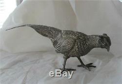 Impériale Russe 84 Faisan Argenté Figure Oiseau Fabergé Antique 720gr 4500 $ +