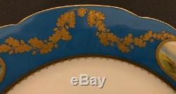 Impériale Russe En Porcelaine Dîner Plate De Service Turquoise Alexandrinsky