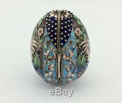 Impériale Russe Vermeil Cloisonné Polychrome Émail Egg