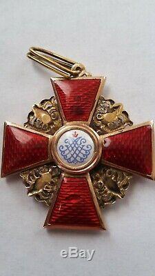 Insigne Médaille Impériale Russe Antique Ordre St. Anna Troisième Degré Originale D'or